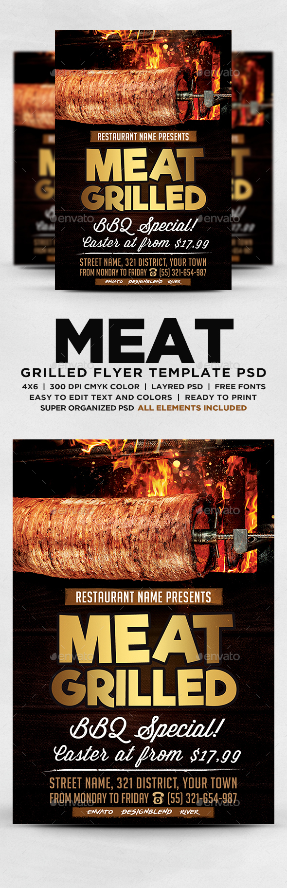 GraphicRiver Meat Grilled Flyer 20629273