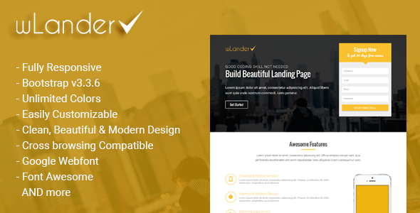 wLander - Responsive Multipurpose Landing Page Template - Landing Pages Marketing