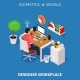 Colored 3d Isometric Freelance Designer Workplace