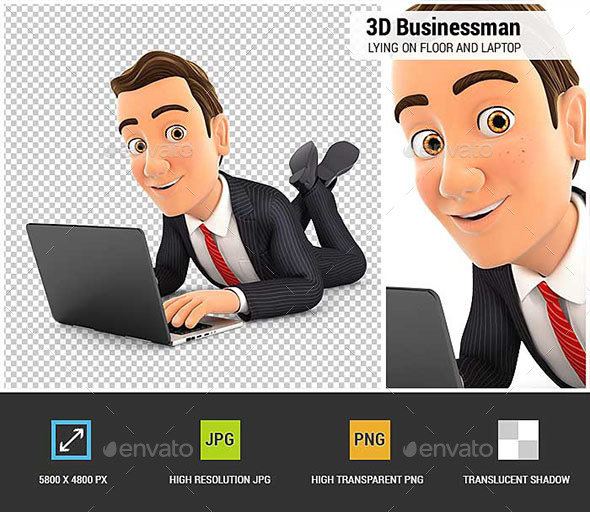 3D Businessman Lying on the Floor and Using Laptop - Characters 3D Renders