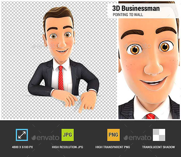 GraphicRiver 3D Businessman Pointing to Empty Wall 20629428