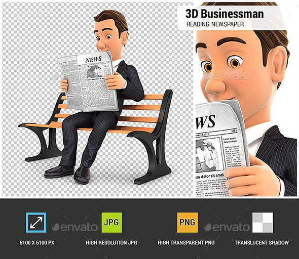 3D Businessman Reading Newspaper on Public Bench - Characters 3D Renders