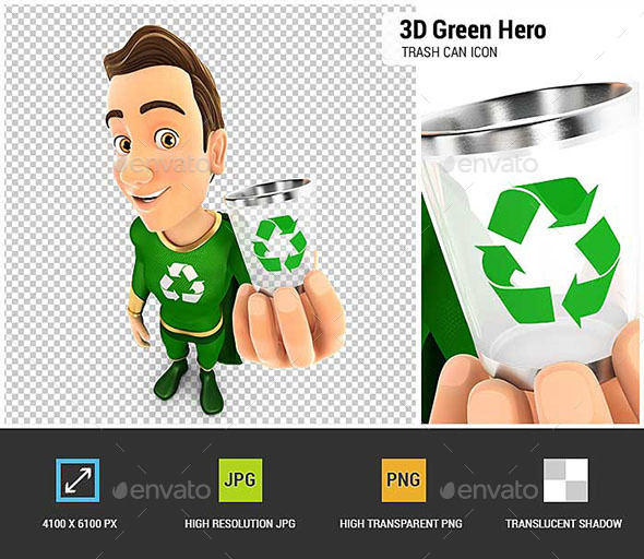 GraphicRiver 3D Green Hero Holding Trash Can Icon 20629443