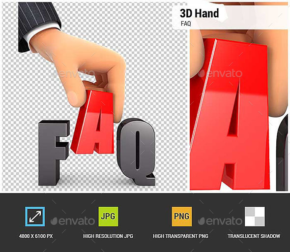 3D Hand and Word FAQ Concept - Characters 3D Renders