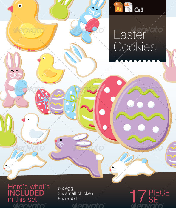 Easter Cookie Vector Objects - Food Objects