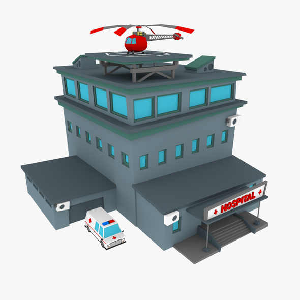 LowPoly Hospital - 3DOcean Item for Sale