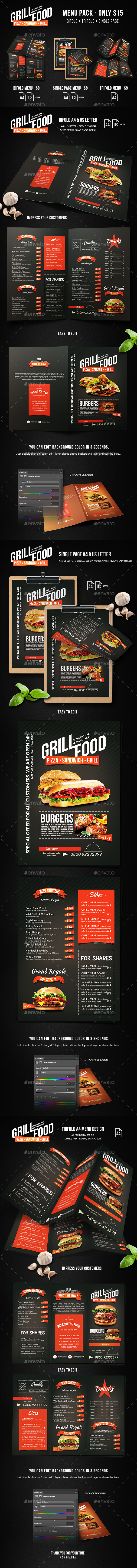 GraphicRiver Grill BBQ Food Menu Bundle 20629660