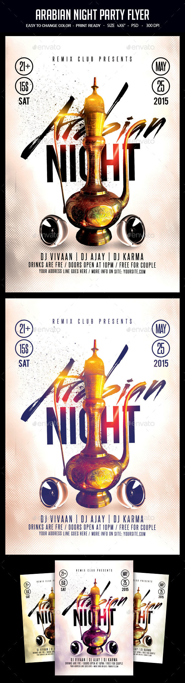 Arabian Night Party Flyer - Clubs & Parties Events
