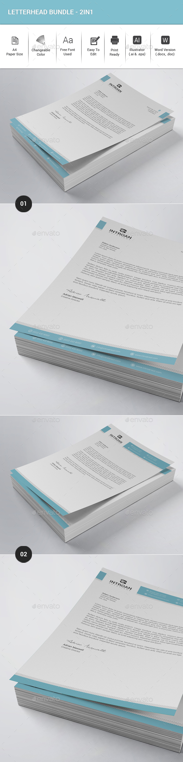 Letterhead Bundle - 2in1 - Stationery Print Templates