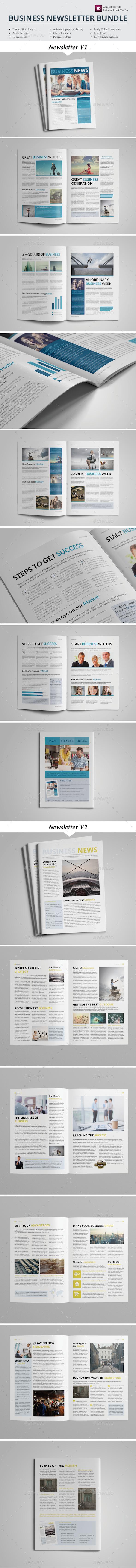 Newsletter Template Bundle - Newsletters Print Templates