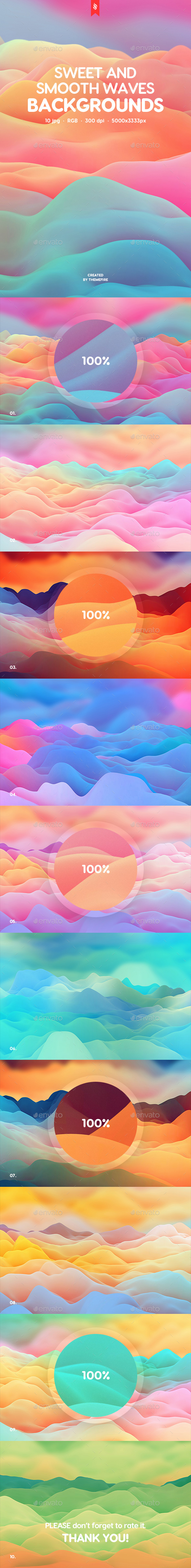 GraphicRiver Sweet Smooth Waves Backgrounds 20630107
