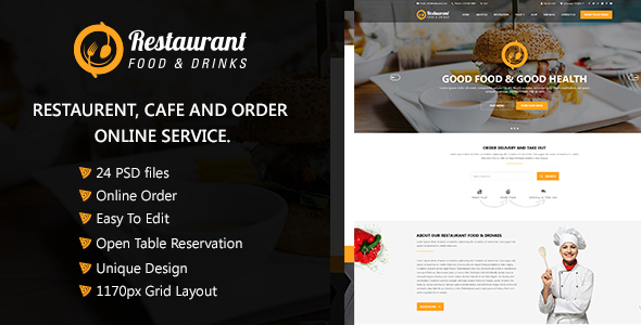 Restaurant  Food & Drinks PSD Template