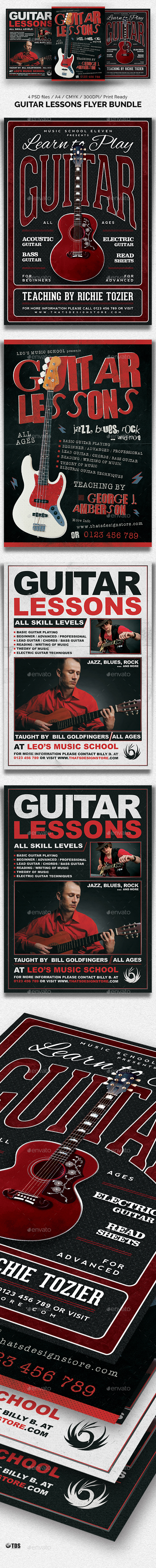 GraphicRiver Guitar Lessons Flyer Bundle 20630142