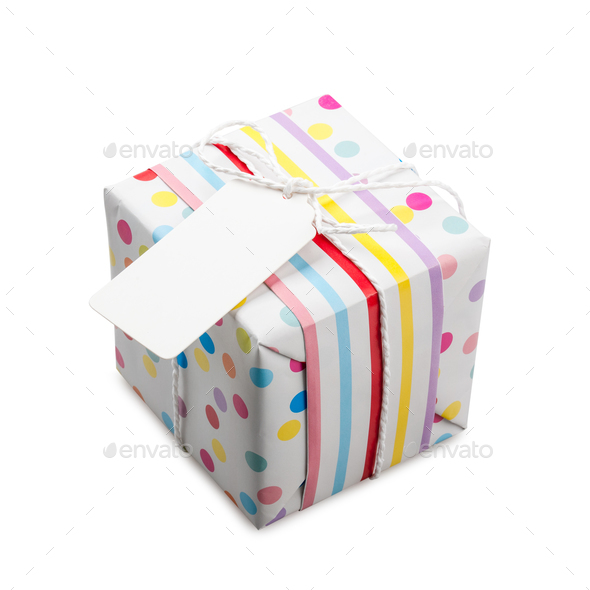 Polka dot gift box on white background - Stock Photo - Images