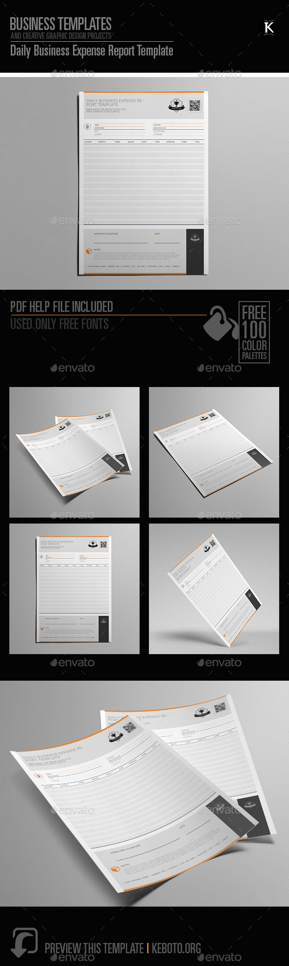 Daily Business Expense Report Template - Miscellaneous Print Templates
