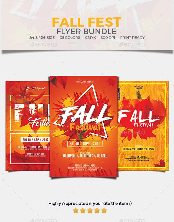 Fall Festival Flyer Bundle set 01 - Events Flyers