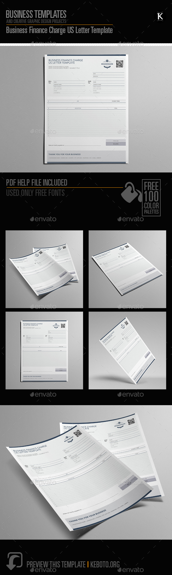 Business Finance Charge US Letter Template - Miscellaneous Print Templates