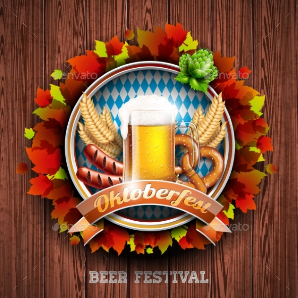 Oktoberfest Vector Illustration with Fresh Lager - Food Objects