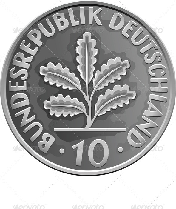Germany Money Silver Coin with Oak Leaves - Business Conceptual