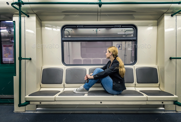 Alone in the subway - Stock Photo - Images