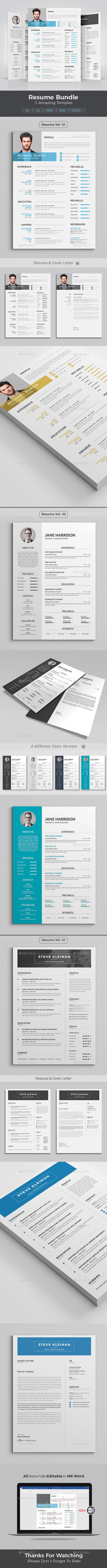 GraphicRiver Resume Word Bundle 20630634