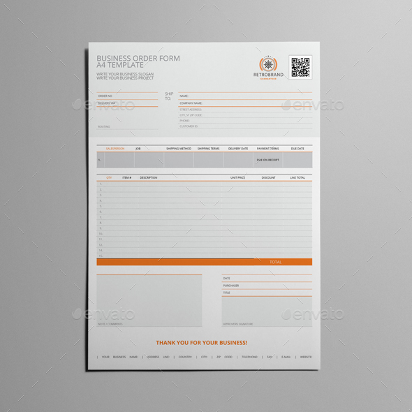 Business Order Form A Template By Keboto  Graphicriver