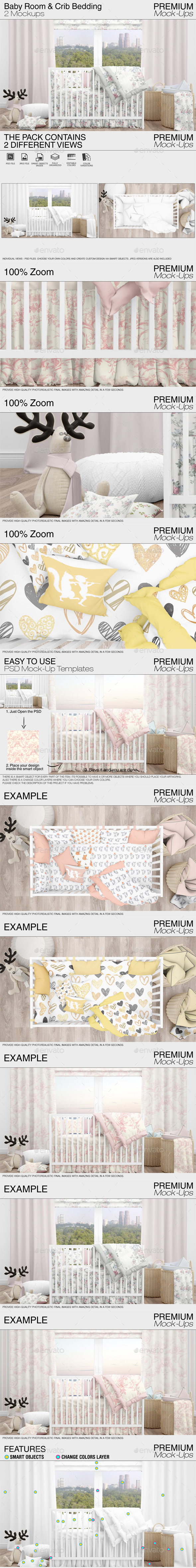 Baby Room & Crib Bedding Set - Print Product Mock-Ups