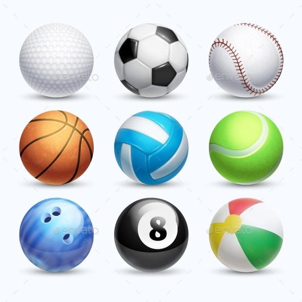 Realistic Sports Balls Vector Set - Sports/Activity Conceptual