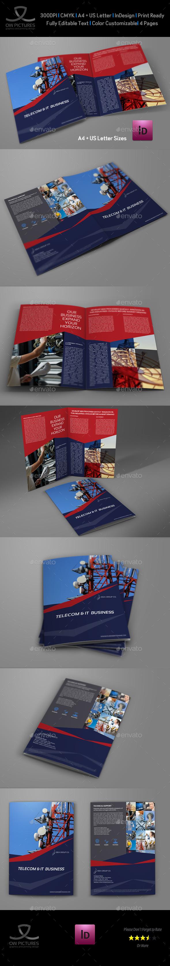 Telecom Services Bi Fold Brochure Template - Brochures Print Templates