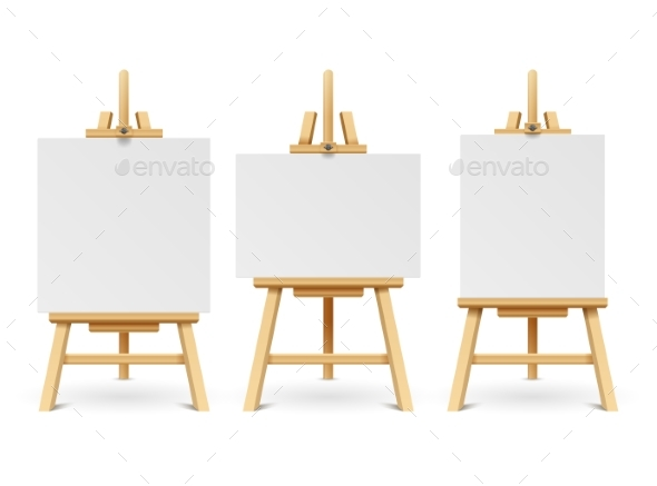 Wood Easels or Painting Art Boards with White - Objects Vectors
