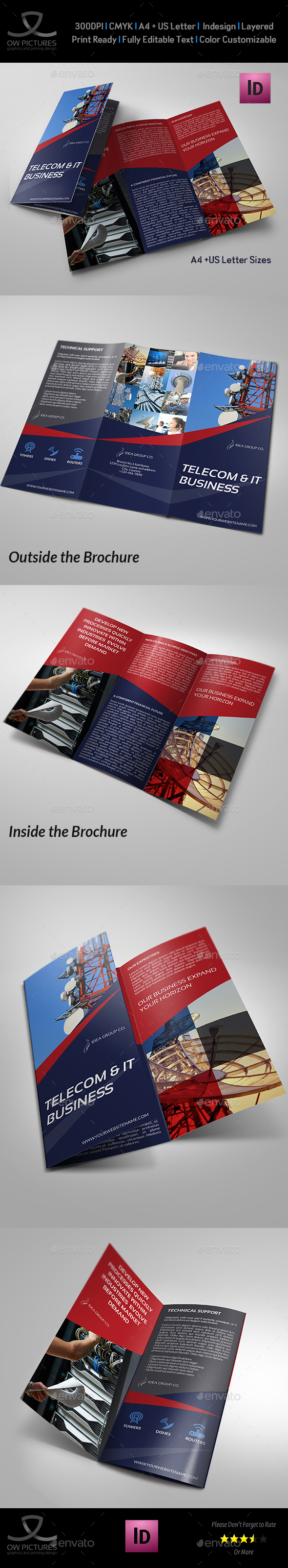Telecom Services Tri Fold Brochure Template - Brochures Print Templates