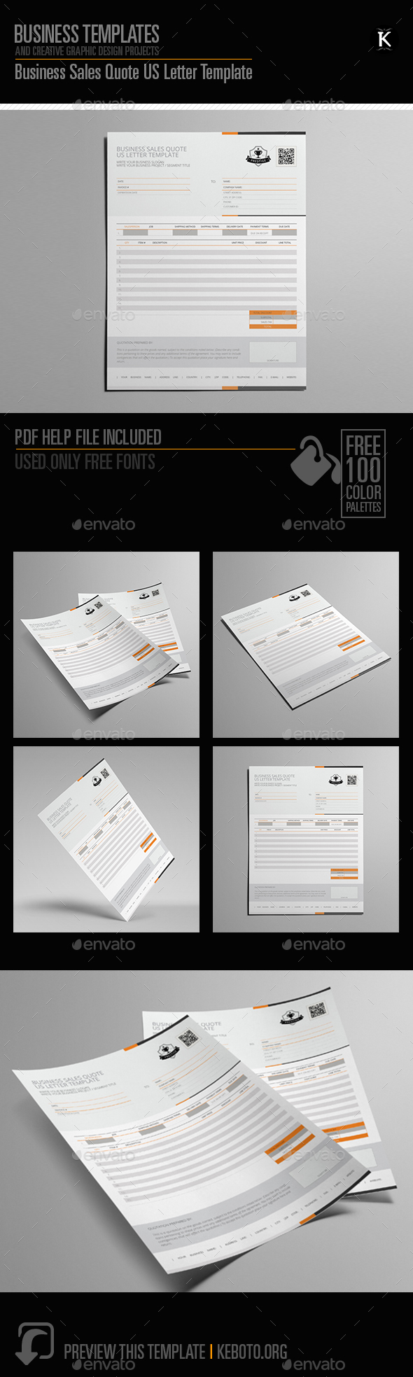 Business Sales Quote US Letter Template - Miscellaneous Print Templates
