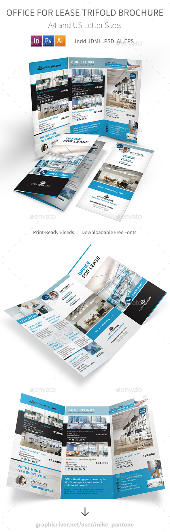 Office For Lease Trifold Brochure - Informational Brochures