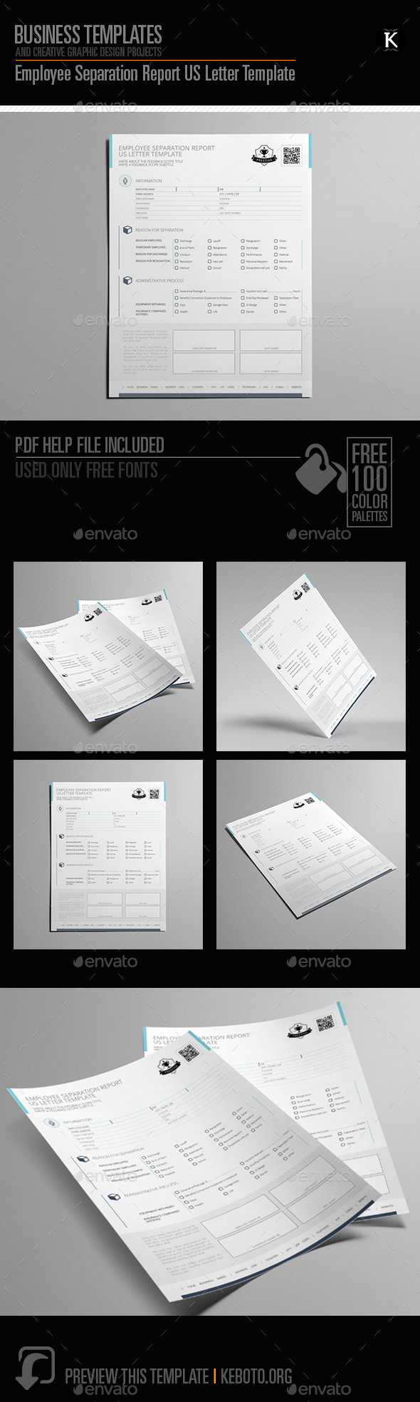Employee Separation Report Us Letter Template By Keboto  Graphicriver