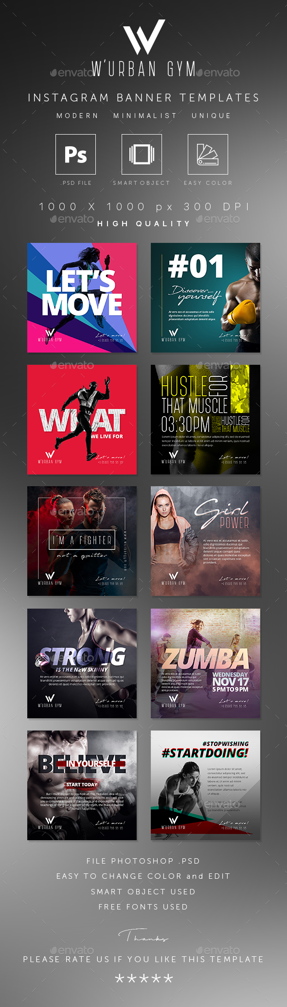 GraphicRiver Fitness GYM Instagram Banner Templates 20607355