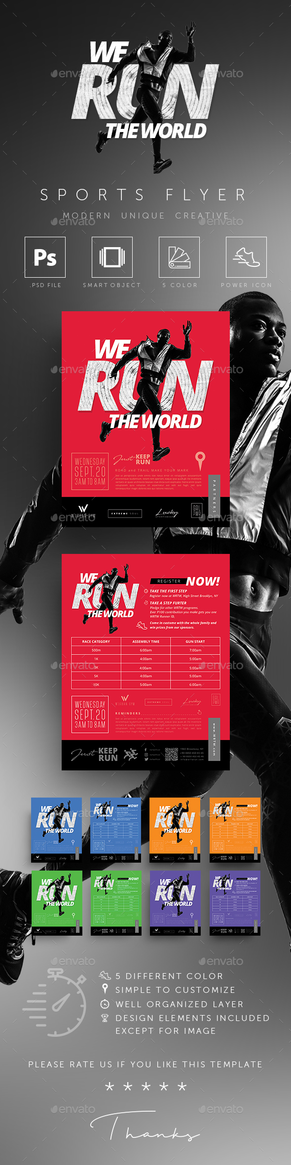 GraphicRiver Fitness GYM Sports Running Event Flyer 20614661