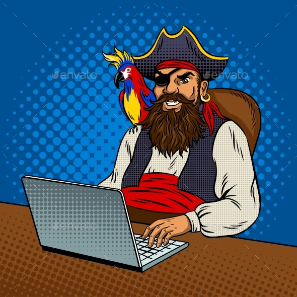 GraphicRiver Pirate with Laptop Pop Art Vector Illustration 20631417