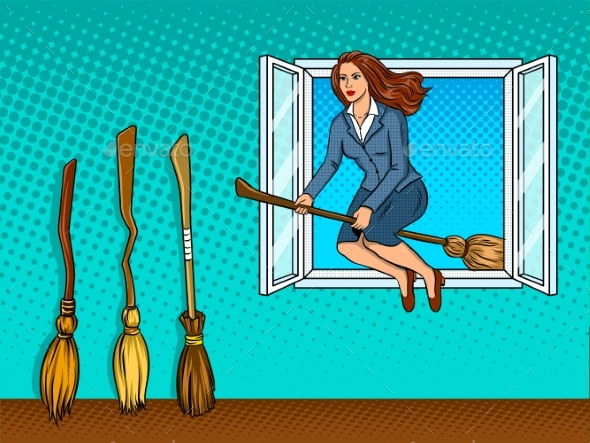 Girl Flies on Broom in Window Pop Art Vector - People Characters
