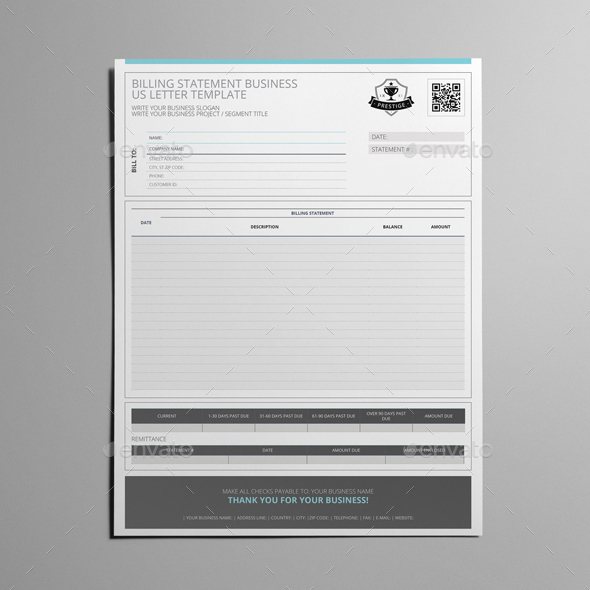 Billing Statement Business Us Letter Template By Keboto  Graphicriver