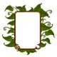 Golden Frame with Bright Green Leaves for Text