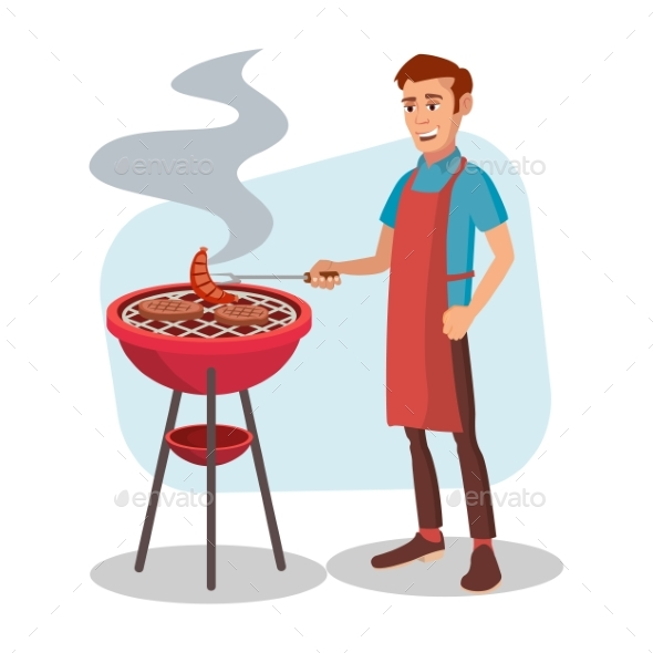BBQ Cooking Vector - People Characters