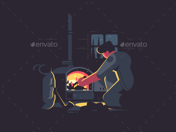Traveler Man Warm By Furnace - Miscellaneous Vectors