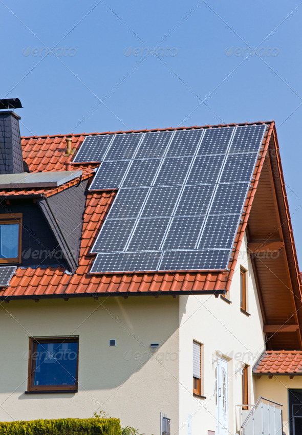 Roof with solar panels - Stock Photo - Images