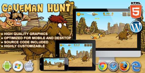 Caveman Hunt - HTML5 Launch Game - CodeCanyon Item for Sale