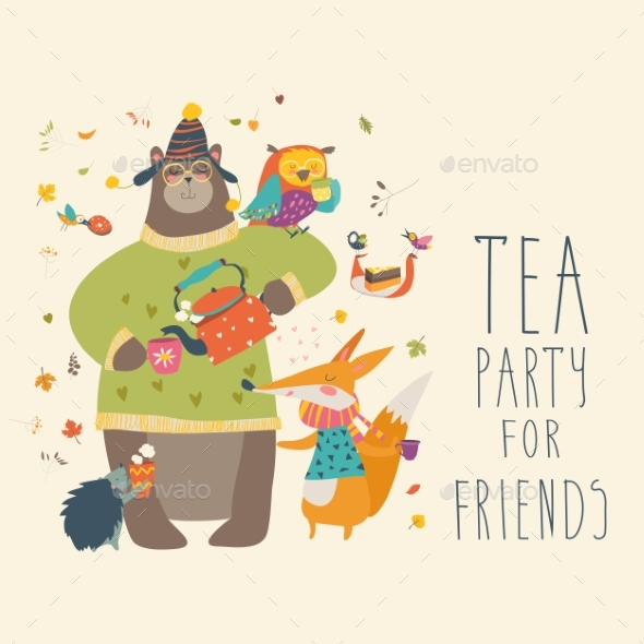 GraphicRiver Tea Party with Animals 20631955