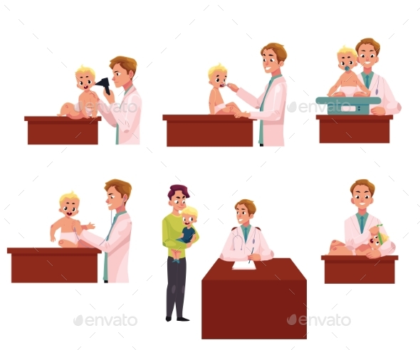 GraphicRiver Pediatrician Doctor Working with Baby 20632131