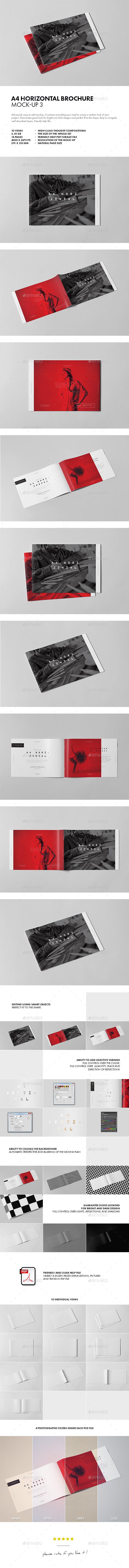 A4 Horiozontal Brochure Mock-up 3 - Brochures Print