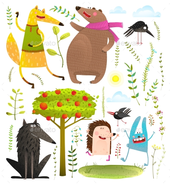 GraphicRiver Wild Forest Objects and Animals Set 20632192