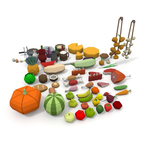 3DOcean LowPoly Food Pack 20632226