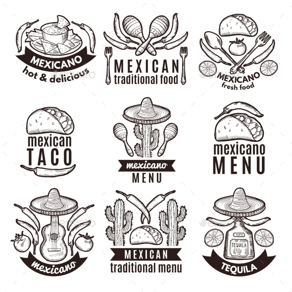 Label Set With Traditional Mexican Symbols By Onyxprj Graphicriver